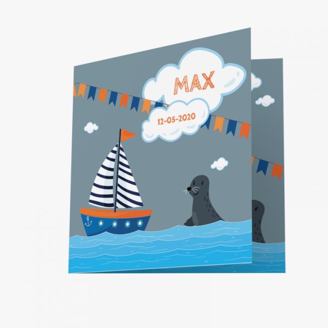 Geboortekaartje Jongens kaart met bootje