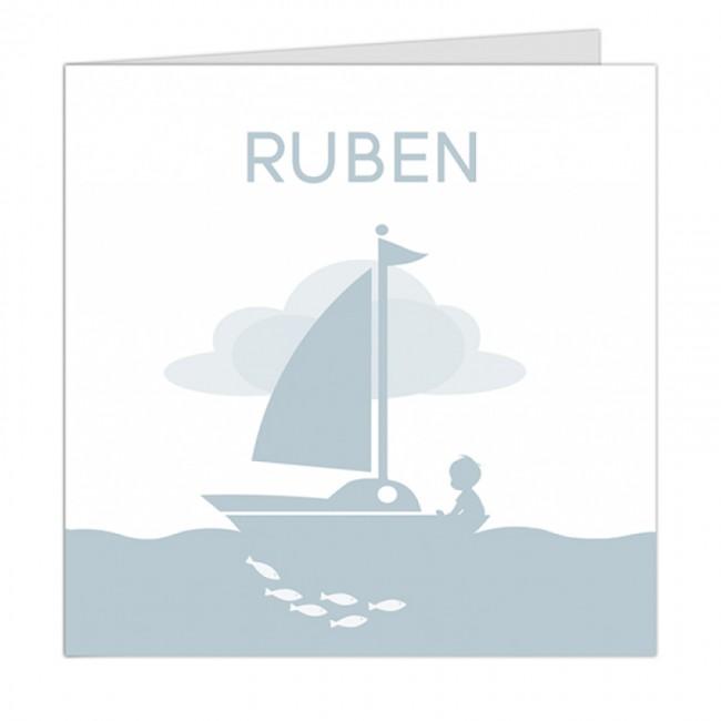 Geboortekaartje jongetje in zeilboot