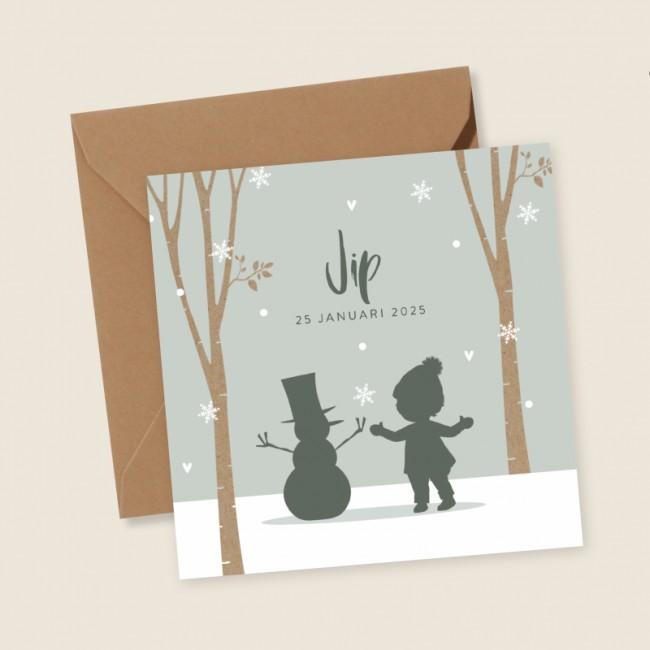 Geboortekaartje Jongetje met sneeuwpop
