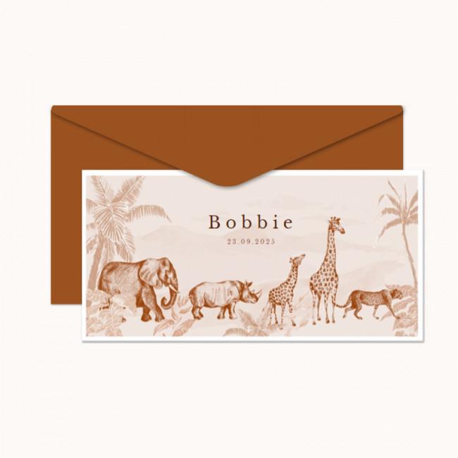 Geboortekaartje Jungle dieren getekend