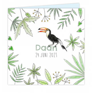 Geboortekaartje Jungle kaartje met Toekan