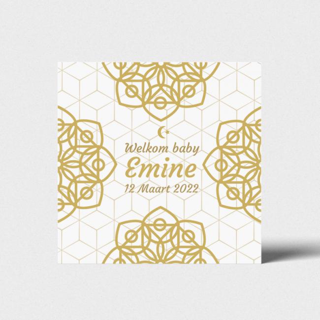 Geboortekaartje Kaart met gouden tinten