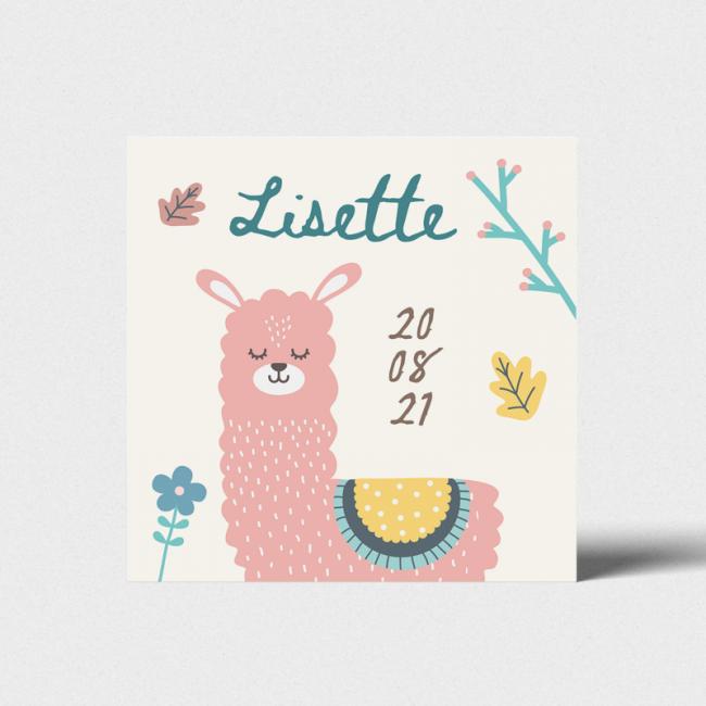 Geboortekaartje Kaart met roze lama