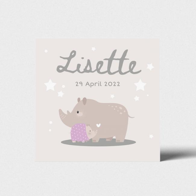 Geboortekaartje Kaart neushoorn familie