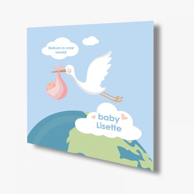 Geboortekaartje Kaart ooievaar meisje