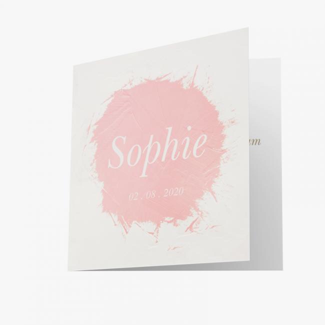 Geboortekaartje Kaart wit met roze