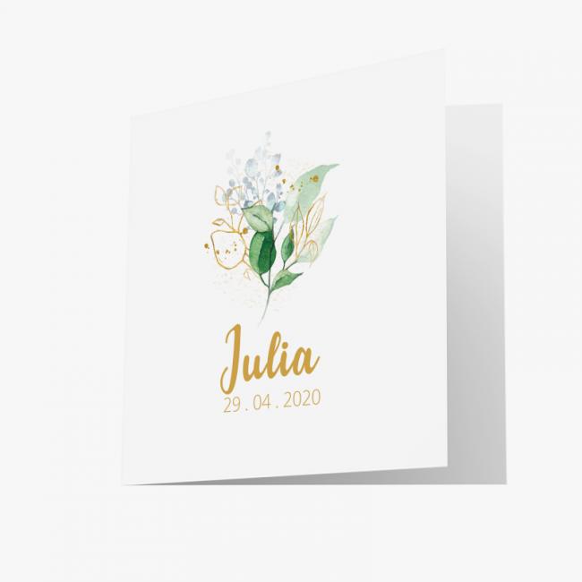 Geboortekaartje Kaartje met bloemdecoratie