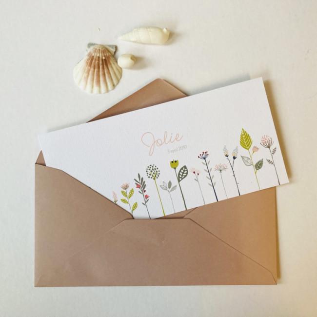 Geboortekaartje Kaartje mooie veldbloemen
