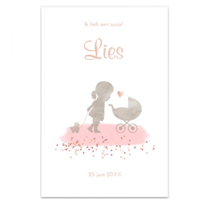 Geboortekaartje kaartje rosé-foliedruk