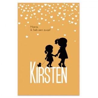 Geboortekaartje Kaartje zusjes en confetti