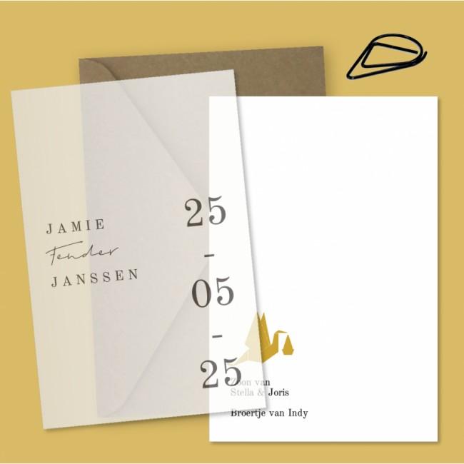 Geboortekaartje Kalk label kaartje Jamie