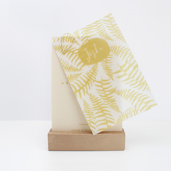 Geboortekaartje Kalkpapier gele print