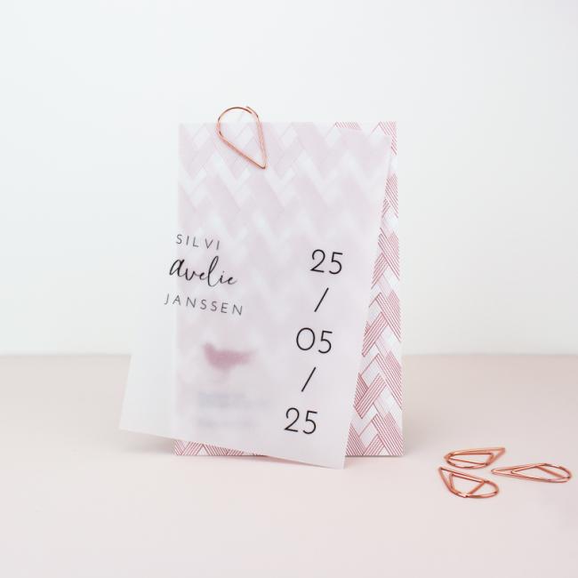 Geboortekaartje Kalkpapier label geometrie
