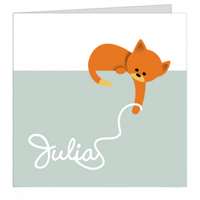 Geboortekaartje kat met draadje