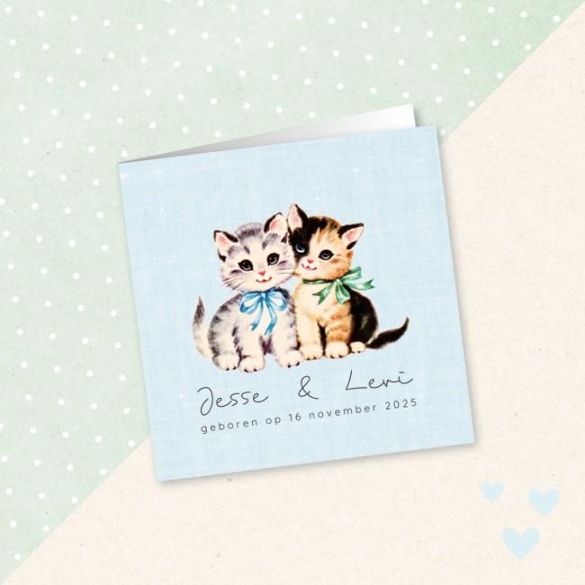 Geboortekaartje Katjes met strik tweeling