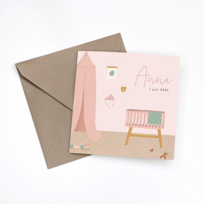 Geboortekaartje Kinderkamer roze