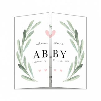 Geboortekaartje Klassiek met bladeren