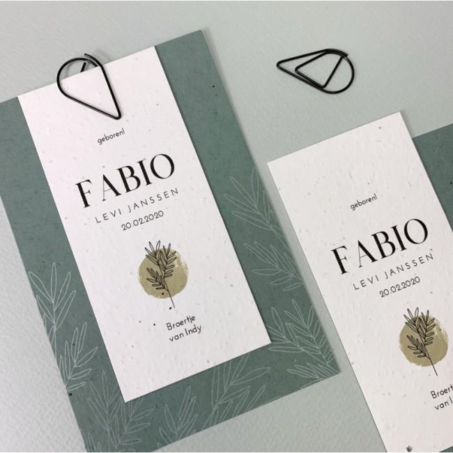 Geboortekaartje Klembord Bloeipapier Fabio