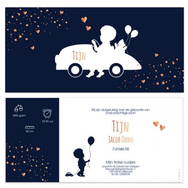 Geboortekaartje Koperfolie & auto