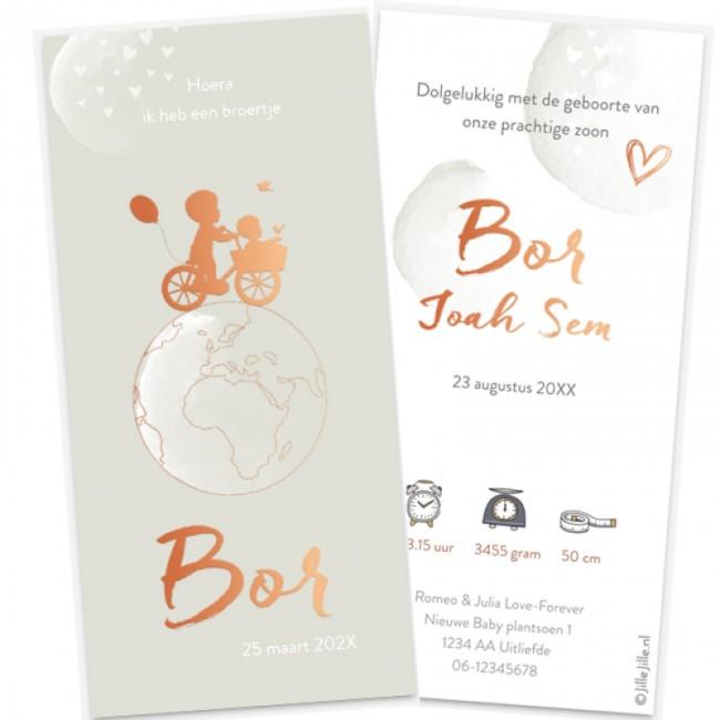 Geboortekaartje Koperfolie & wereldbol