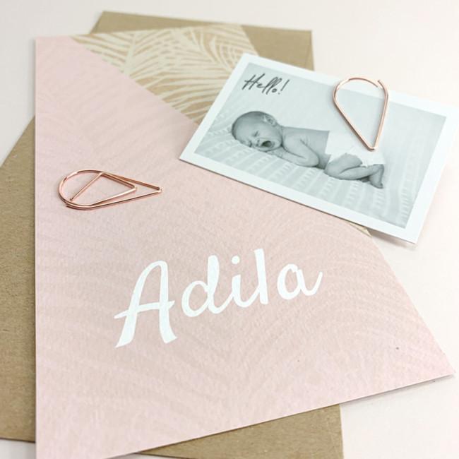 Geboortekaartje Kraft karton met roze