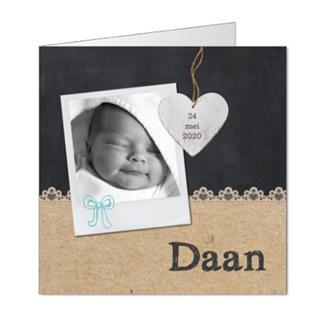 Geboortekaartje Krijtbord met foto jongen