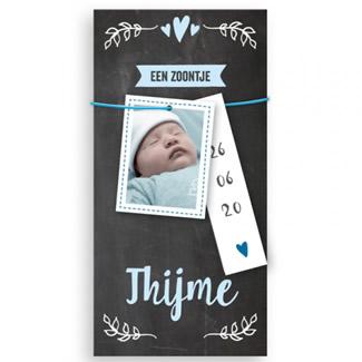 Geboortekaartje Krijtbord met labeltjes