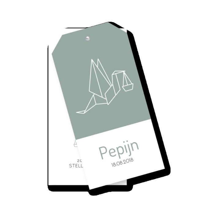Geboortekaartje Label kaart - Pepijn