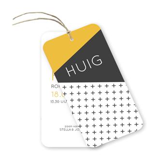 Geboortekaartje Label kaartje - Huig
