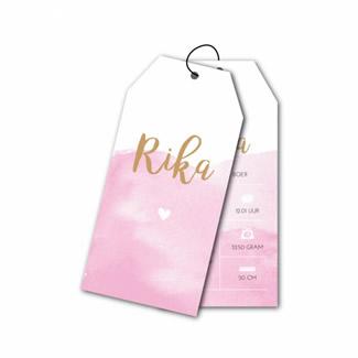 Geboortekaartje Label watercolor Roze
