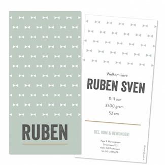 Geboortekaartje Labelkaartje met strikjes