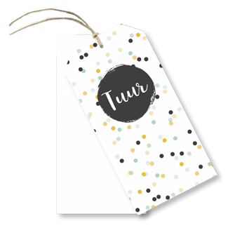 Geboortekaartje Labels confetti Tuur