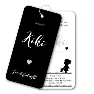 Geboortekaartje Labels  |  zwart wit Kiki