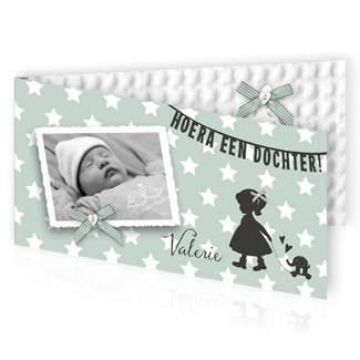 Geboortekaartje Foto en silhouet