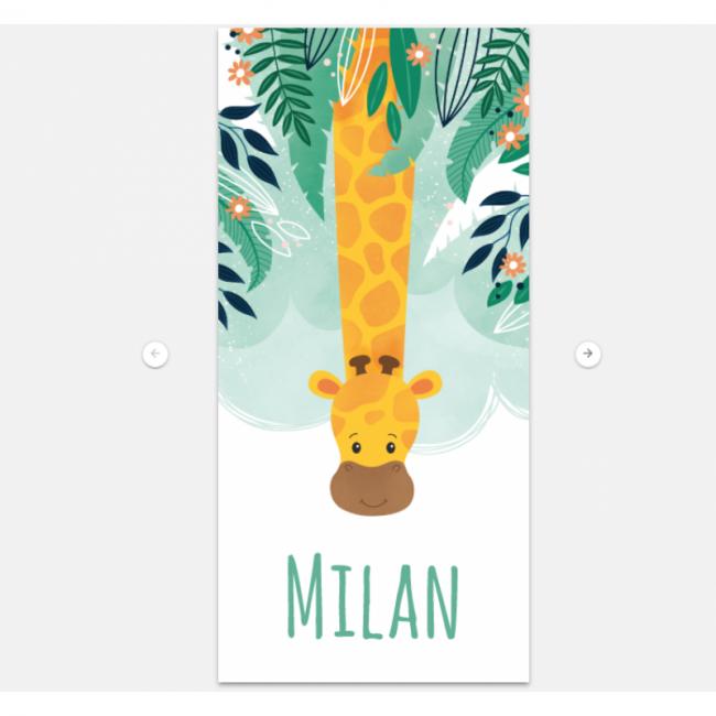 Geboortekaartje Langwerpig met Giraf