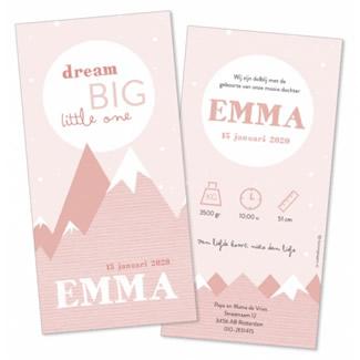 Geboortekaartje Langwerpig met roze bergen