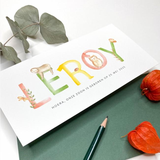 Geboortekaartje Letters met bosdieren