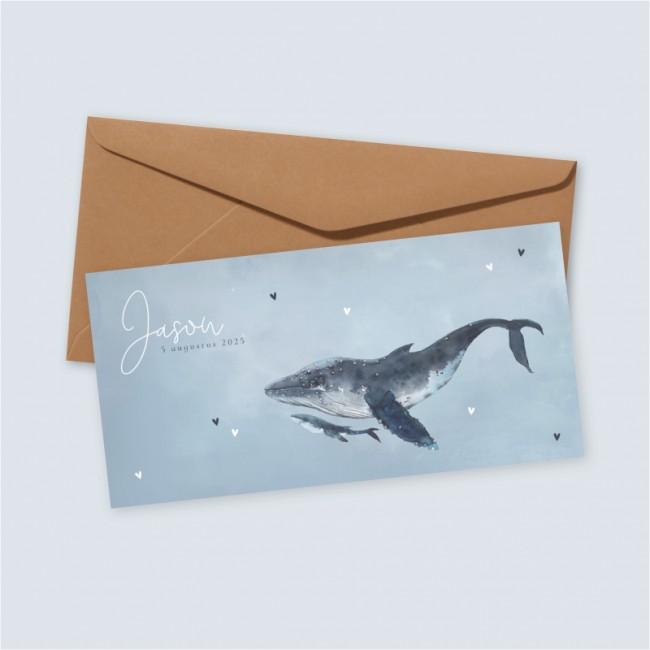 Geboortekaartje Lichtblauw met walvissen