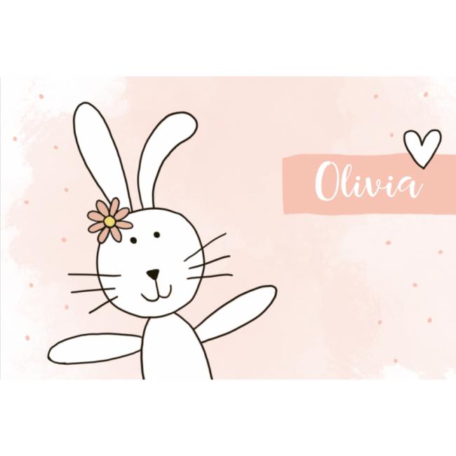 Geboortekaartje lief konijn meisje