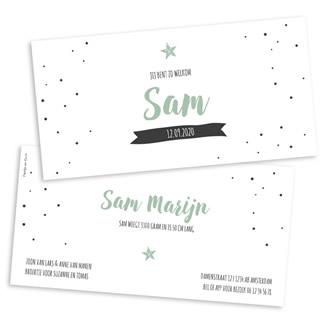 Geboortekaartje Liggend kaartje confetti