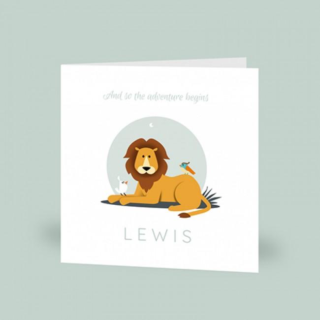 Geboortekaartje liggende leeuw