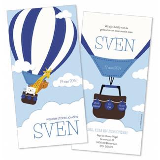 Geboortekaartje Luchtballon met dieren