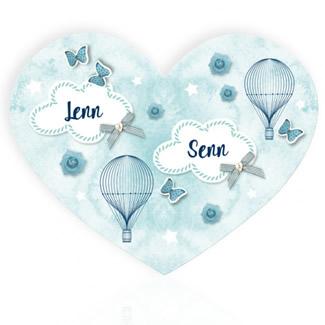 Geboortekaartje Luchtballon voor tweeling