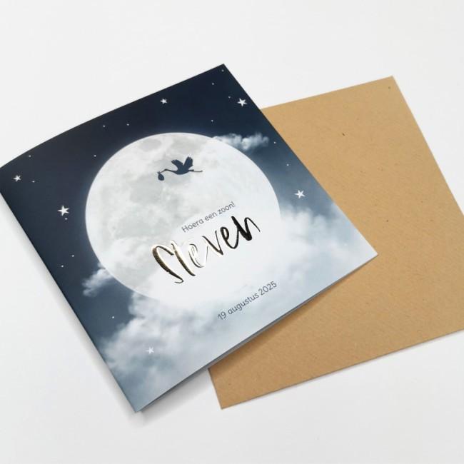 Geboortekaartje Maan en wolken folie