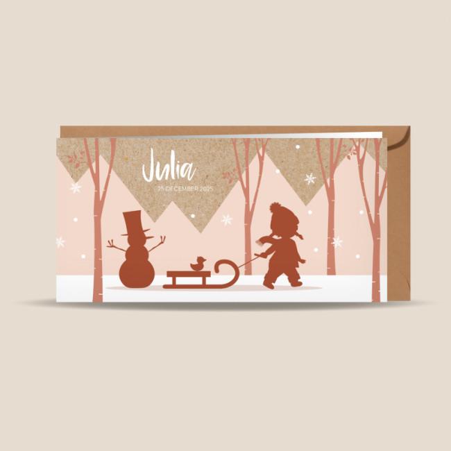 Geboortekaartje Meisje in de sneeuw