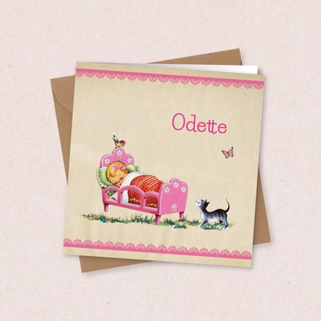 Geboortekaartje Meisje in roze bedje