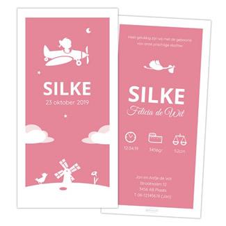 Geboortekaartje meisje in vliegtuig