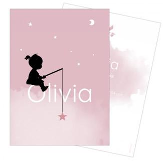 Geboortekaartje meisje in wolken met ster
