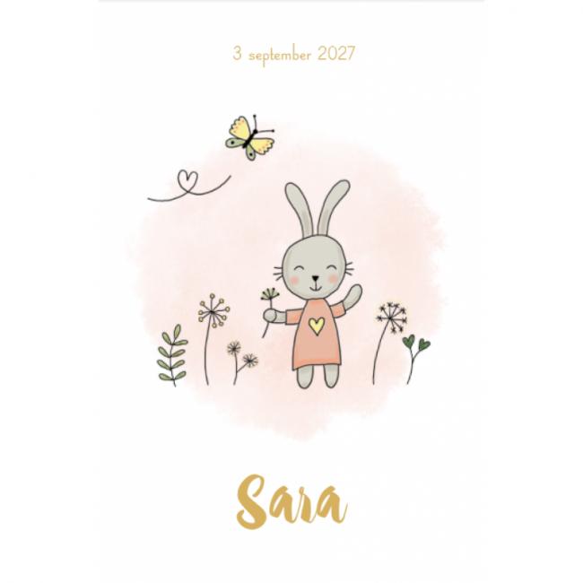 Geboortekaartje meisje konijn plantjes