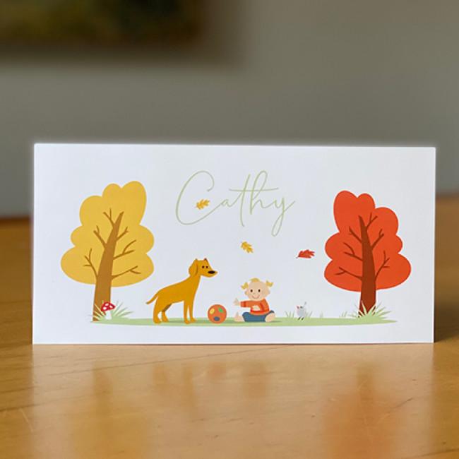 Geboortekaartje meisje met hond in herfst